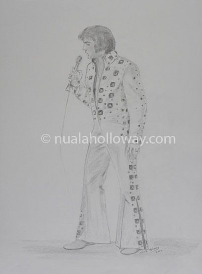 """Elvis '72"" by Nuala Holloway - Pencil on Paper (Commission) As featured in the music biography ""Elvis and Ireland"" by Ivor Casey - Available to buy now on Amazon #Elvis #ElvisandIreland #IrishArtist"
