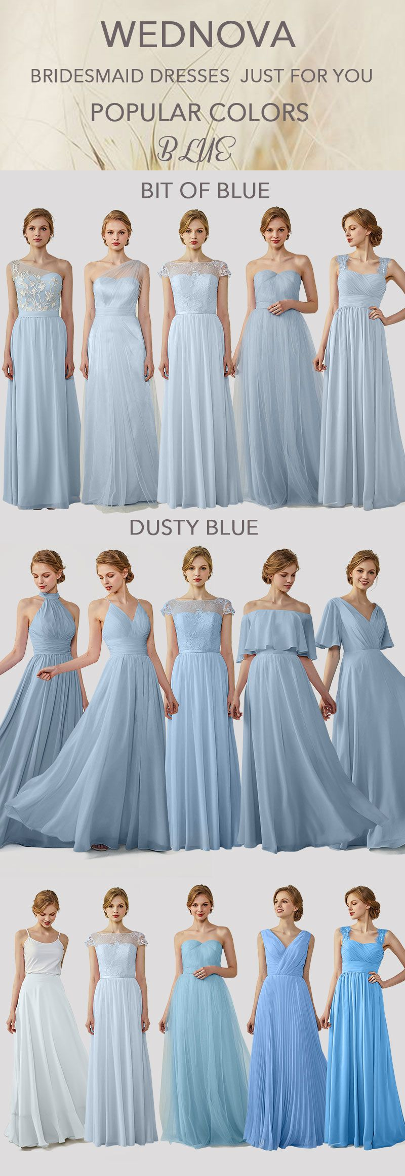 Blue chiffon bridesmaid dresses long with lace spaghetti straps