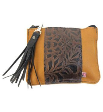 Berkeley Leather Clutch - Sunrise and Vertical Brown Paisley Made in the U.S.A.