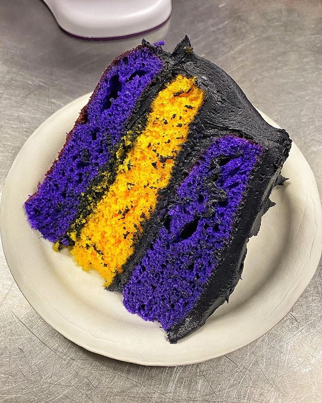 hungryhugh Black Mamba Cake in Honor of Kobe! 💜💛 A portion