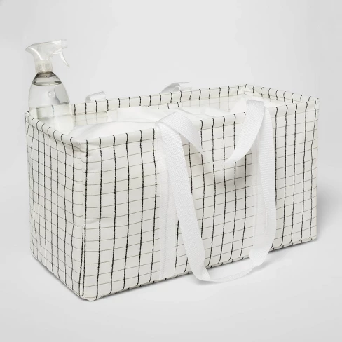 Soft Sided Scrunchable Laundry Basket Grid Pattern White Room Essentials Adult Unisex White Gray Black