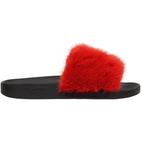 113549d793a3 Givenchy Women Mink Fur Rubber Slide Sandals ( 745) ❤ liked on Polyvore  featuring shoes