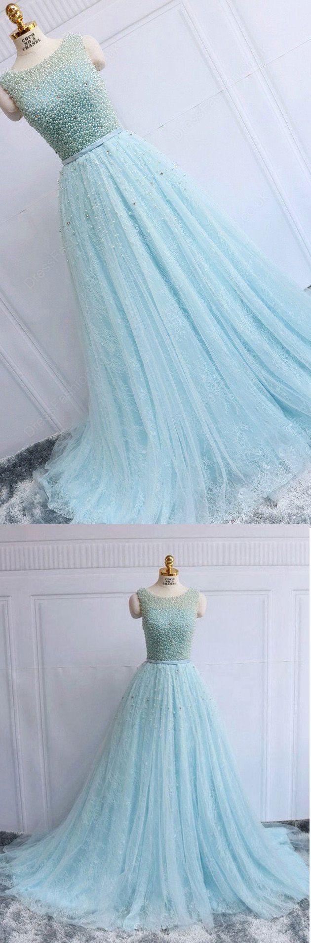 Discount alineprincess evening prom dresses long light blue