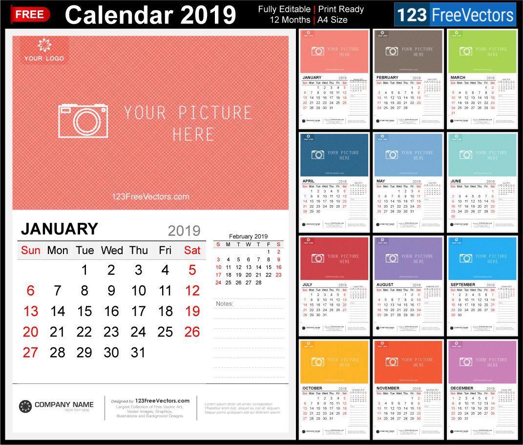 2019 Wall Calendar Calendar, Wall calendar, 2020