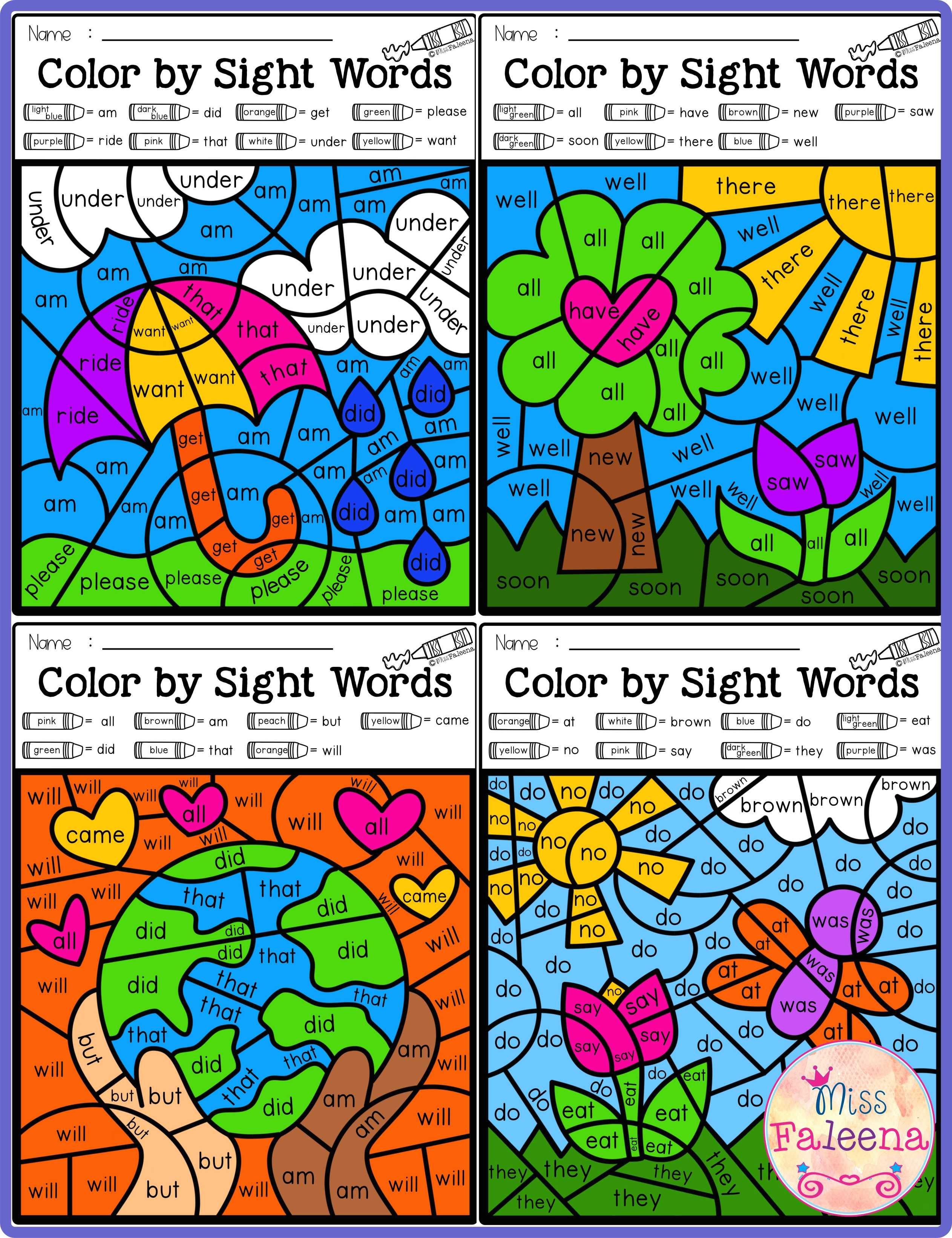 Spring Color By Code Sight Words Primer