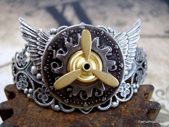 Filigree Cuff Bracelet Steampunk Propeller by EyeFullProductions, $42.00