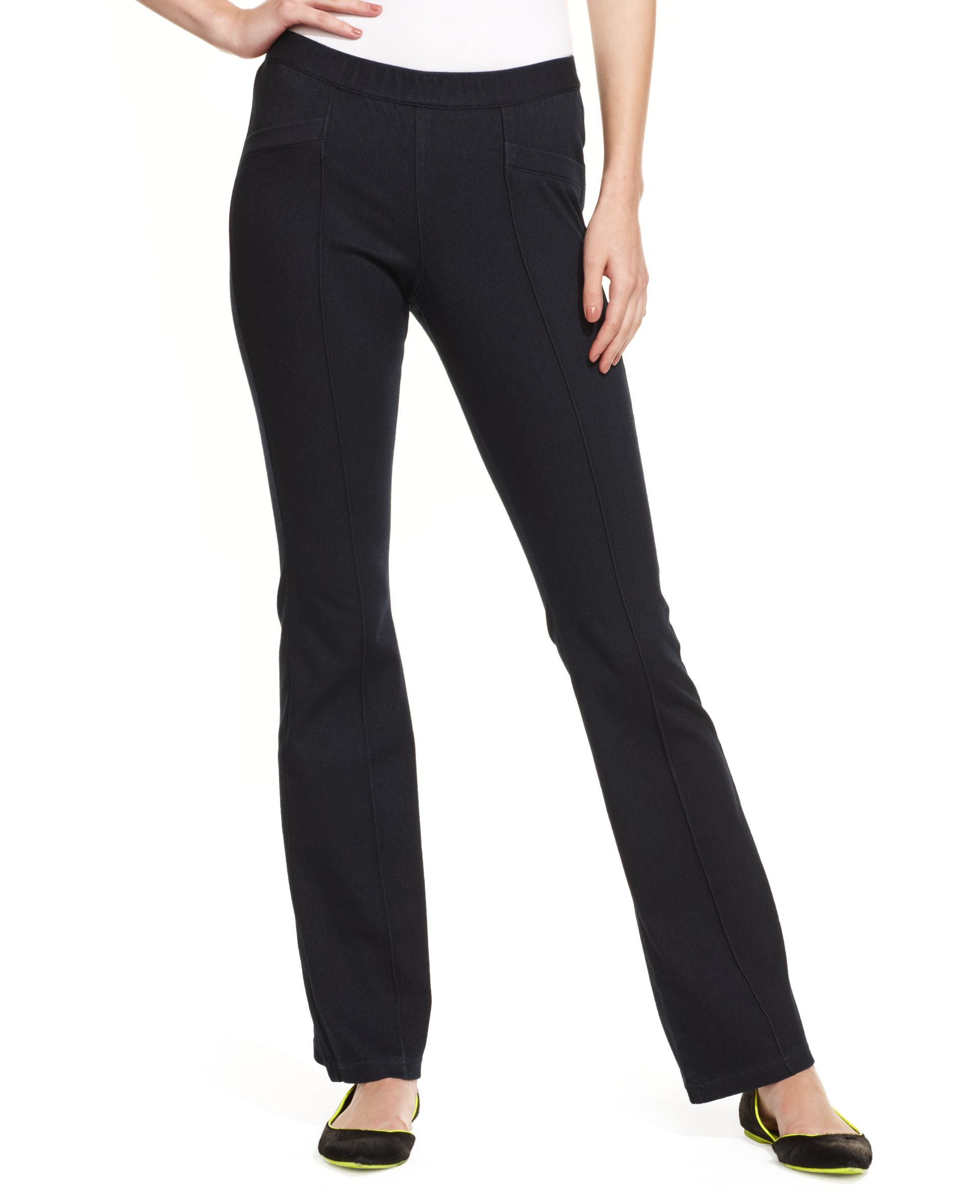 860dde87ec3a1 Hue Front Pintuck Polished Bootcut Denim Leggings | Products | Pinterest