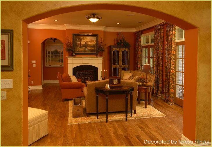 Living Room With Warm Burnt Sienna Walls Would Definitely Change The Curtains Though Future