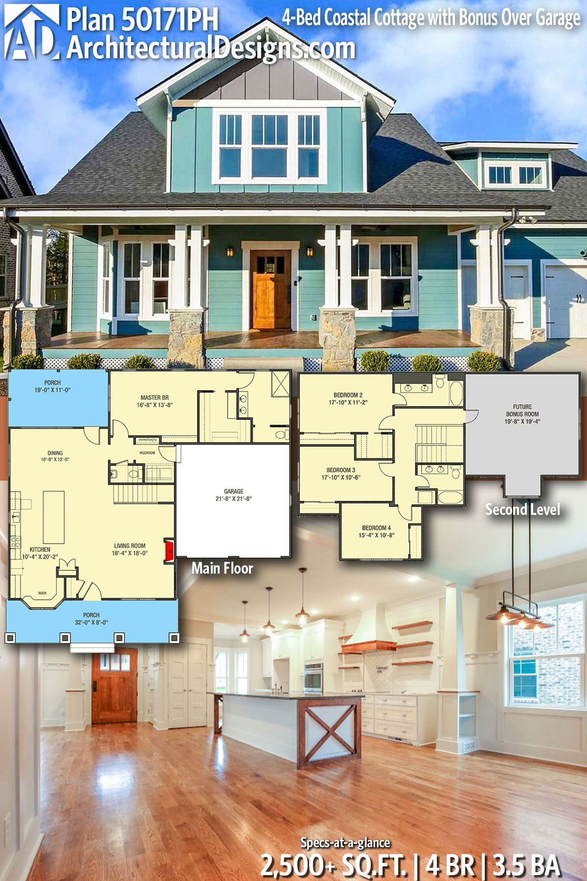 Plan 50171ph 4 Bed Coastal Cottage With Bonus Over Garage New House Plans House Styles Craftsman House