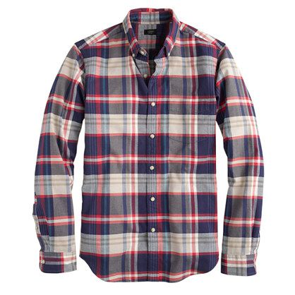 J crew slim vintage oxford shirt in dusty bamboo plaid for Bamboo button down shirts