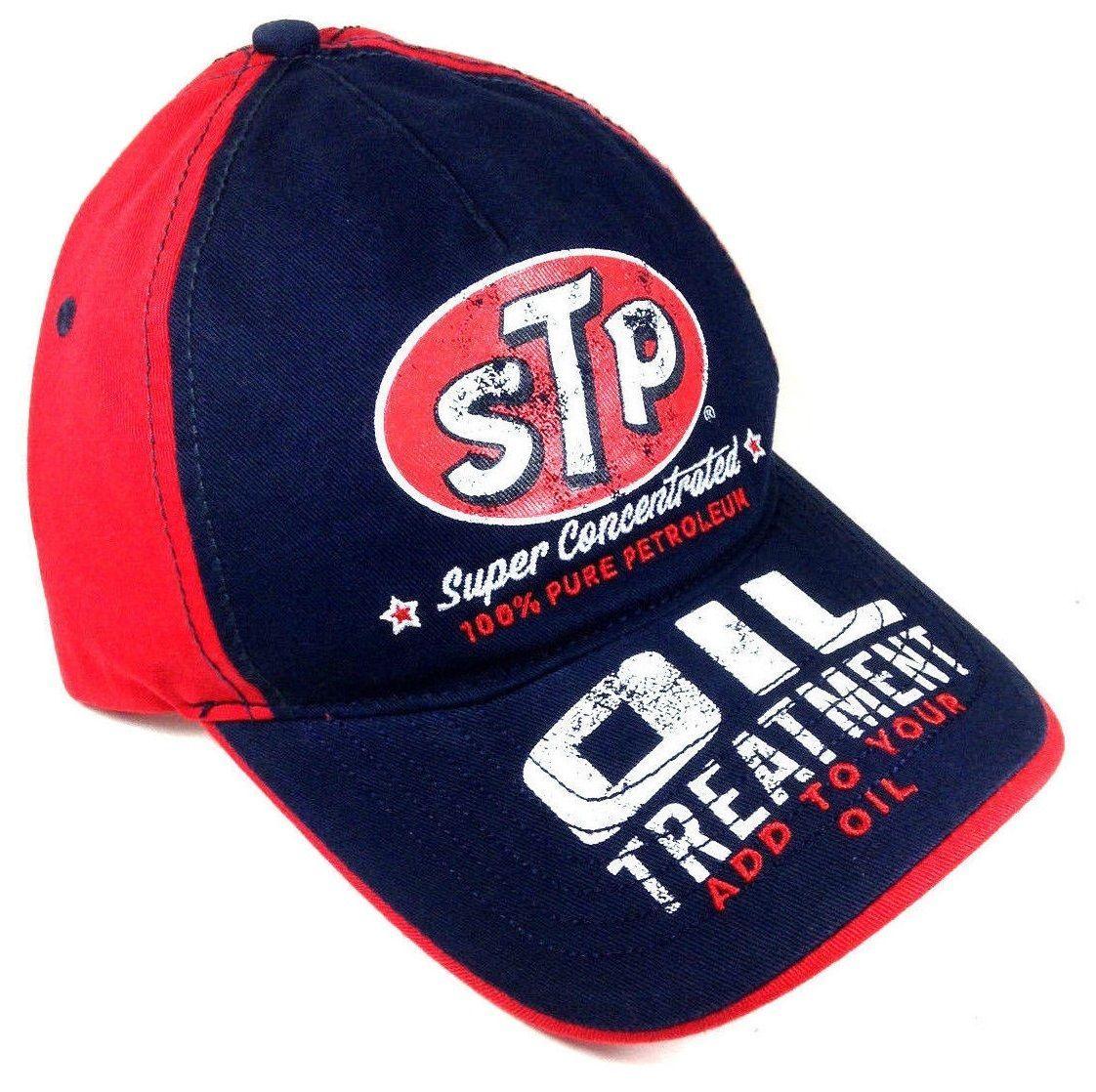 7b1ec944e02 Stp Motor Oil Logo Snapback Hat Cap Adjustable Curved Bill Red Blue Retro  Faded