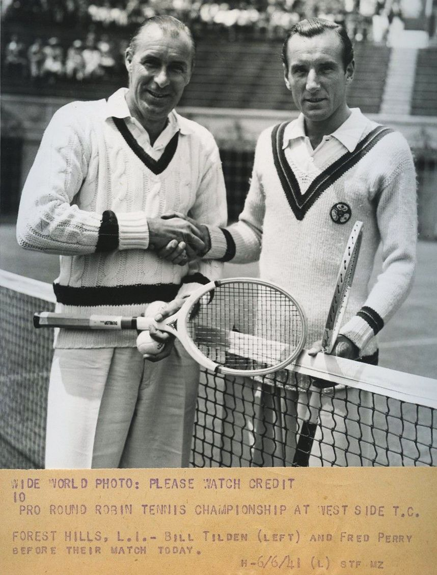 Bill Tilden & Fred Perry 1941 vintage photo tennis sweaters