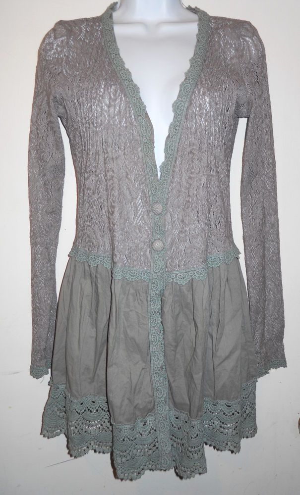 Women's M a'reve Gray Lace Duster Jacket Cardigan Sheer Button ...