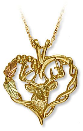 Black hills gold pendant with deers head and heart black hills black hills gold pendant with deers head and heart aloadofball Image collections