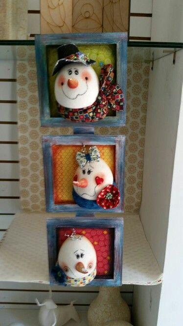 Cuadros navide os mu ecos de navidad en tela pinterest for Cuadros de navidad