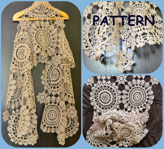 crochet scarf pattern with round motives three crochet doilies Wing Diagram Crochet Wrap crochet scarf pattern with round motives three crochet doilies diagrams graph pattern diy summ