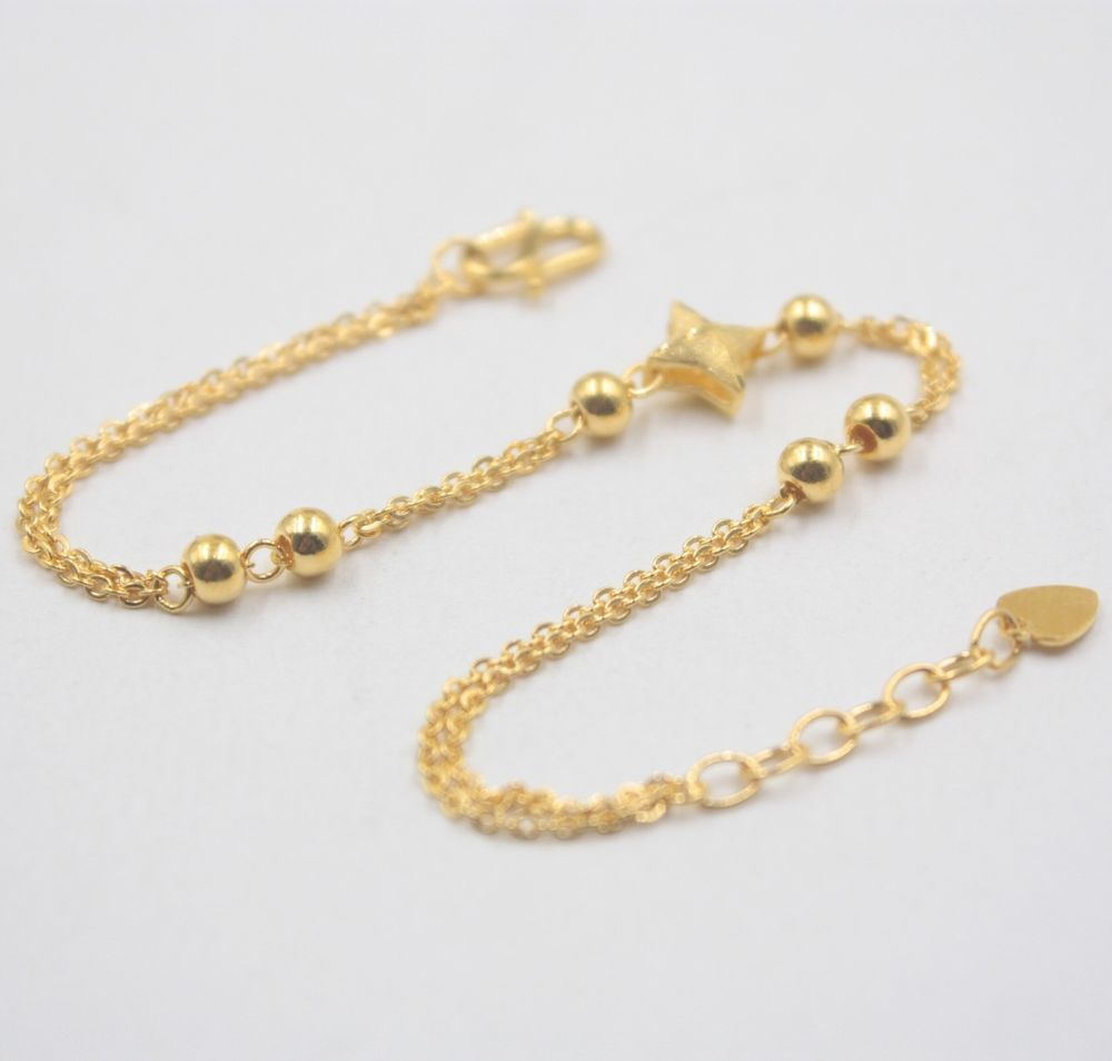 New real k yellow gold bracelet womanus smooth bead lucky o link