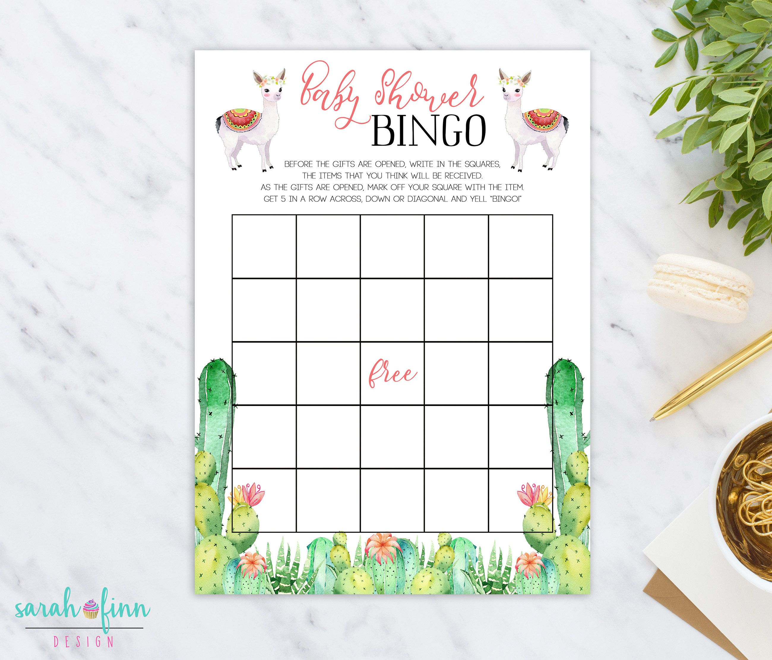 Cactus Llama Baby Shower Bingo Game Baby Shower Game