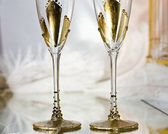 Silver and gray personalized wedding set champagne flutes wedding
