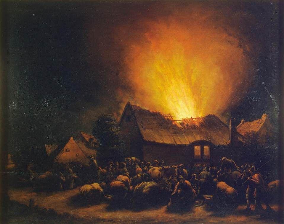 Fire in a Village Egbert van der Poel - Date unknown