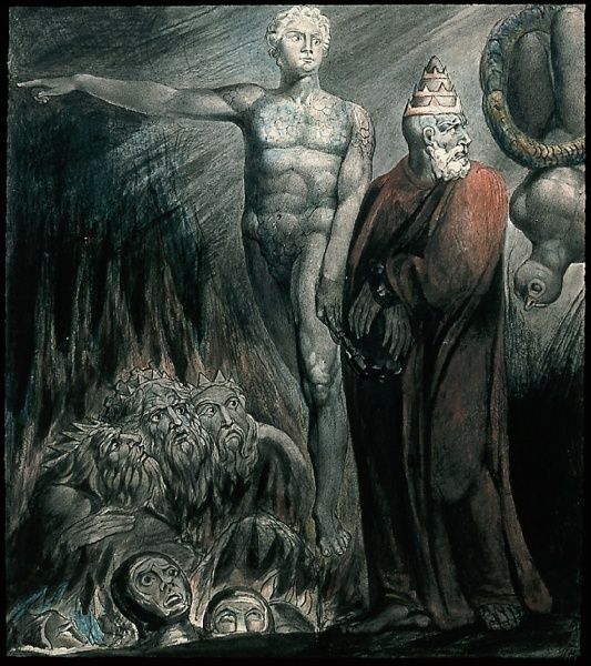 William Blake Lucifer And The Pope In Hell (The King Of