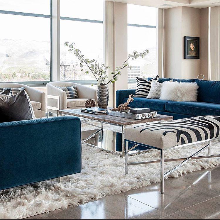 """Interior Design & Home Decor No Instagram """"An Elegant Setup With Best Blue Sofa Living Room Design Decorating Design"""