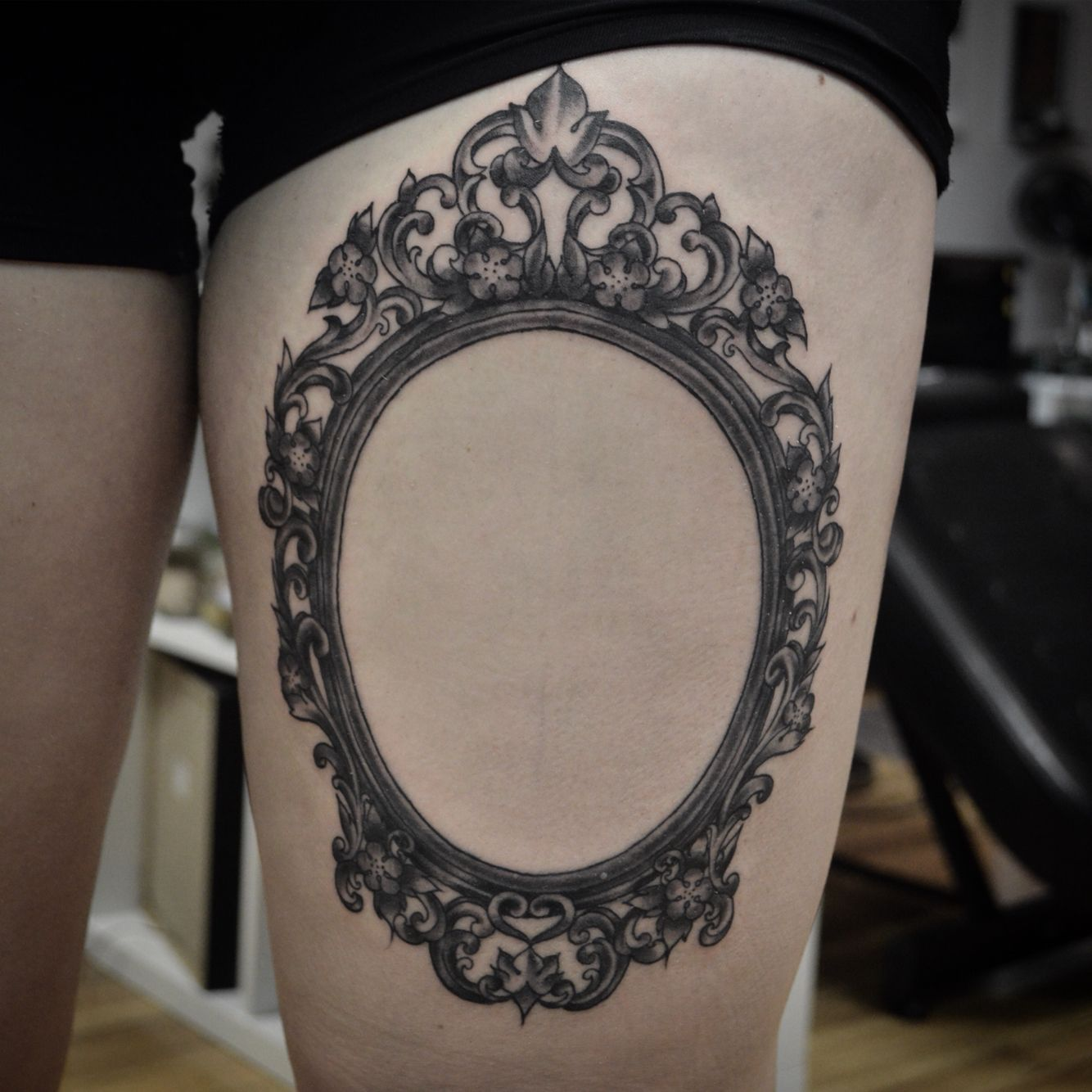 Filigree frame tattoo by Susie Humphrey at Pittsburgh Tattoo Company ...