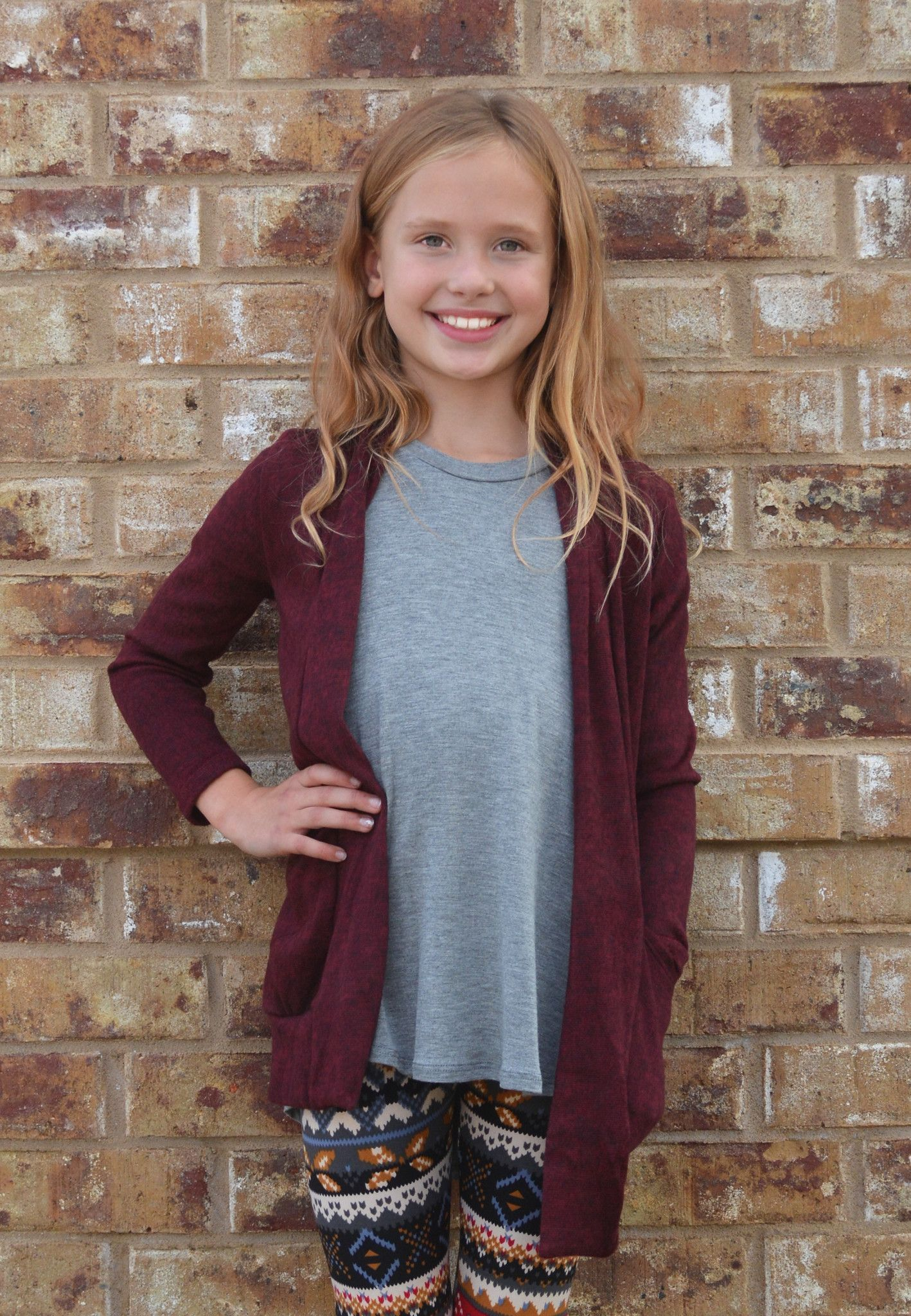 lil belle falling for you cardigan - burgundy