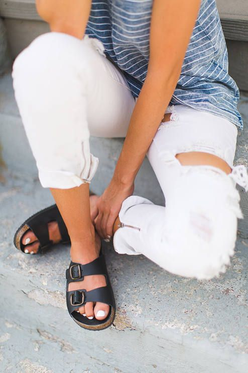 One Teaspoon White Zipped Cuff Ripped  Skinnies by Styled Avenue