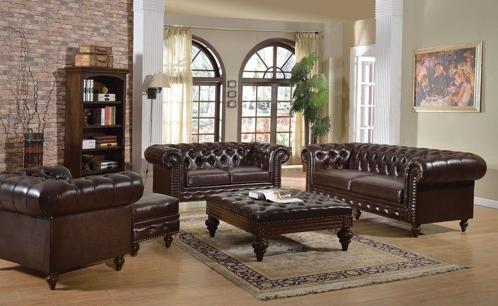 Elegant 5pc Dark Brown Boned Leather Button Tufted Living Room