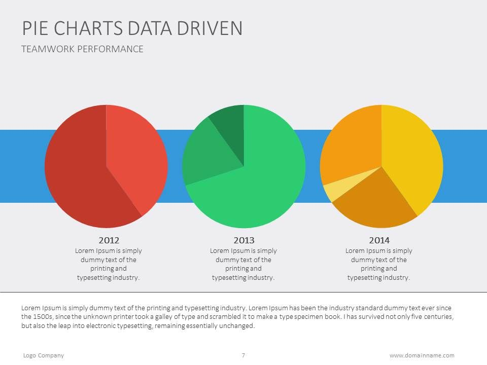 Three Pie Charts In One Slide For Data Comparison Piechart