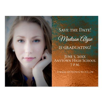 custom copper and teal graduation save the date postcard