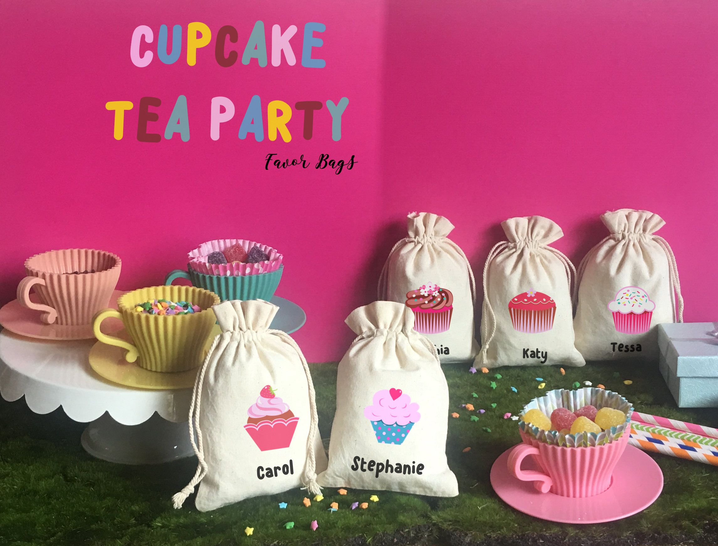 Personalized Cupcake Tea Party-Favors Goodie Bag-Party Supply ...