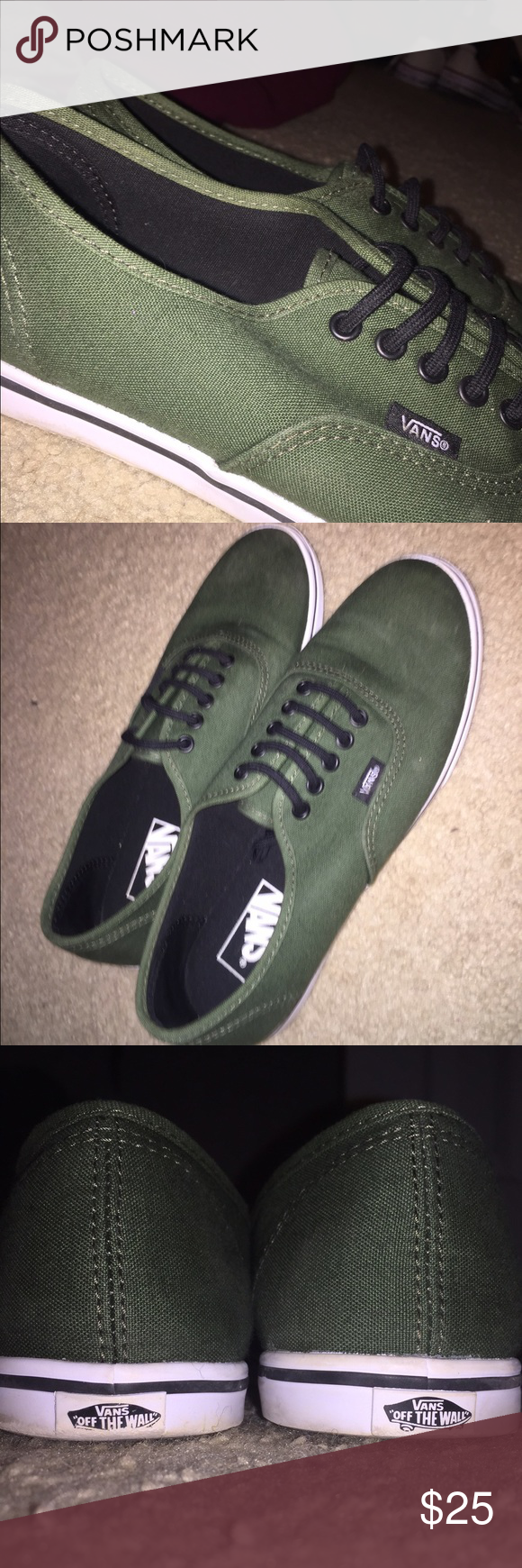 Army Green Vans!! Barley worn!! Very cute and in great condition!! Vans Shoes Sneakers