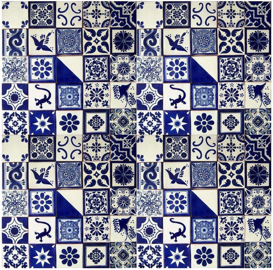 BLUE WHITE Mexican Tile Handmade Talavera Backsplash Handpainted