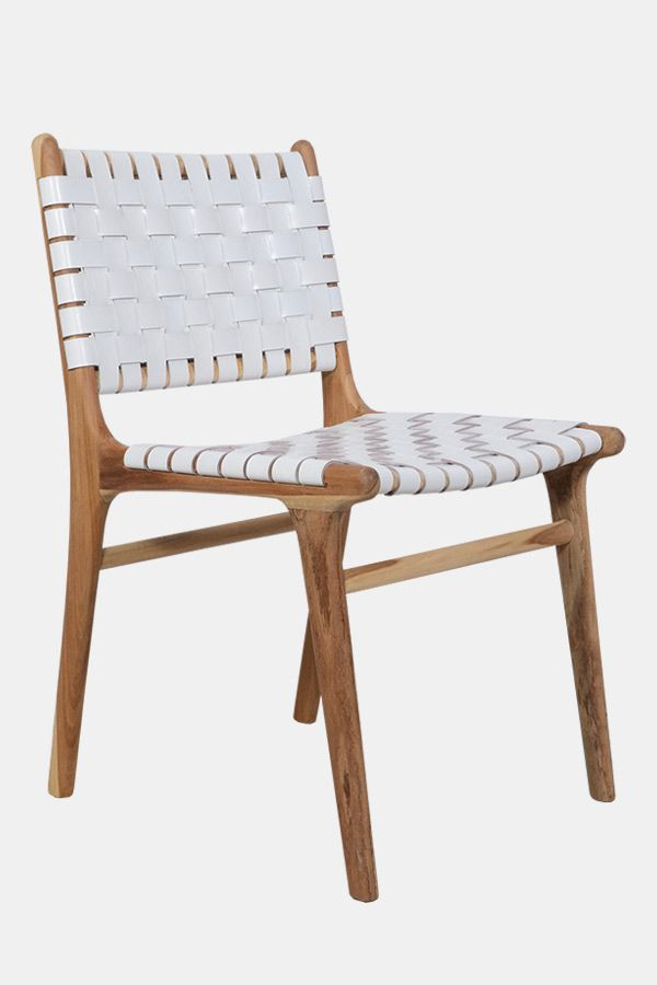 Leather Strapping Dining Chair Teak Amp White Rattan
