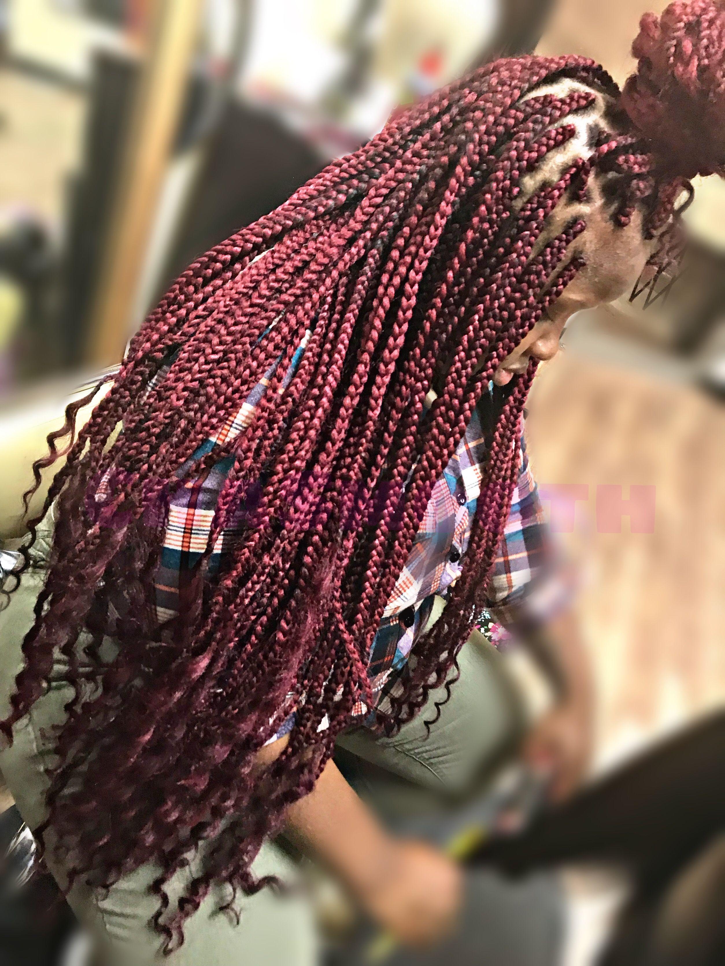 Medium Goddess Box Braids Curly Ends Medium Box Braids