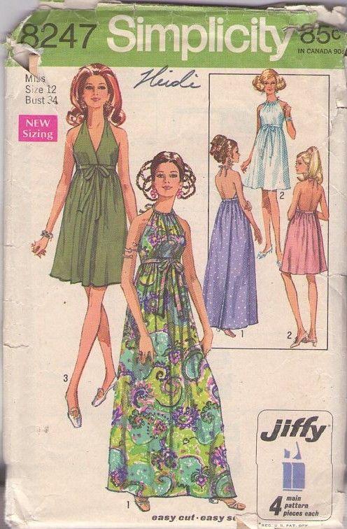 Sz 14 bust 34 vintage dress pattern 1960/'s dress pattern 60/'s style pattern easy to sew pattern how to sew v neck dress pattern maxi dress