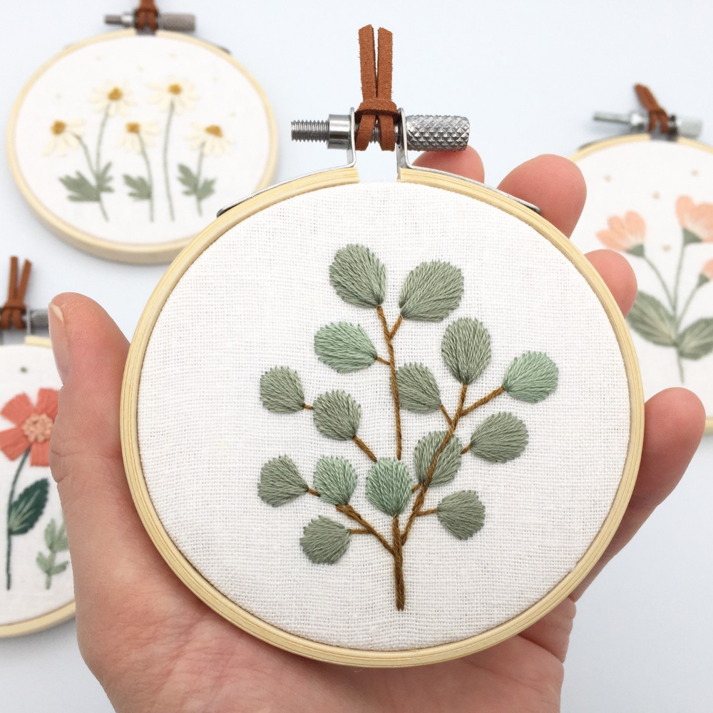 Photo of Eucalyptus embroidery hoop art, eucalyptus plant cross stitch, eucalyptus leaves minimalist decor, nature botanical embroidery