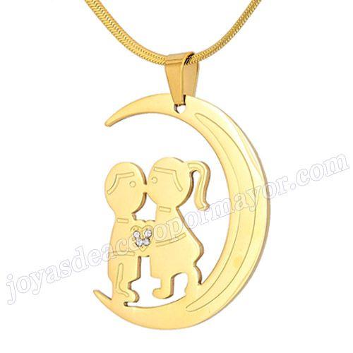 3082723bf075 Material Acero Inoxidable Nombre  Colgante oro de acero de forma luna con  dos ninos Talla  45 33 2mm Weight  12g Model No.  SSPT284 Color Per Picture  .