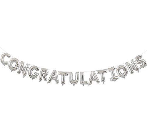 Amazon.com: Congratulations Balloons Banner Silver 16 inch