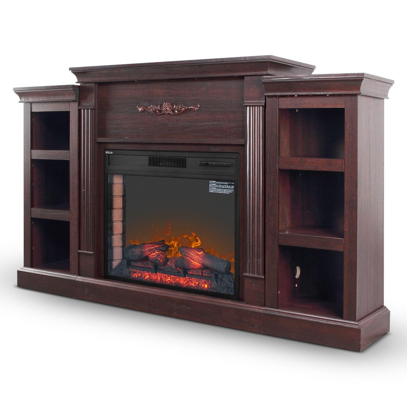 """DELLA 28"""" Espresso Electric Fireplace with 6 Bookcases"""