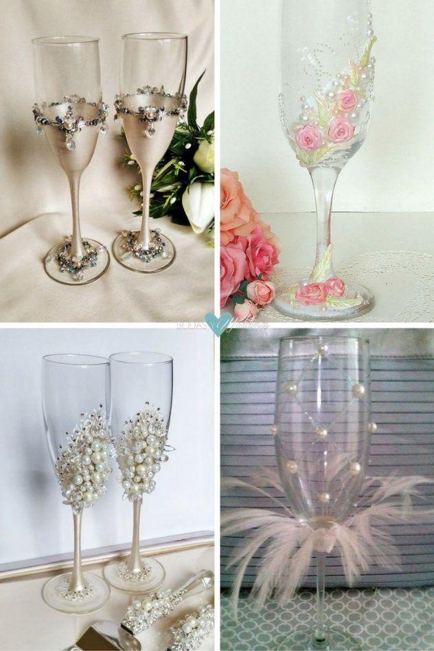 Copas para novios ideas para decorar copas de brindis de - Bodas sencillas y romanticas ...