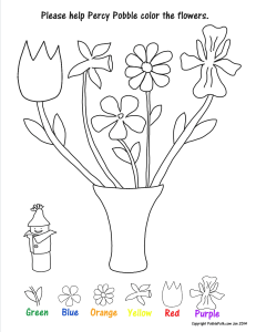 Match the flower shapes and colors. A fun color worksheet