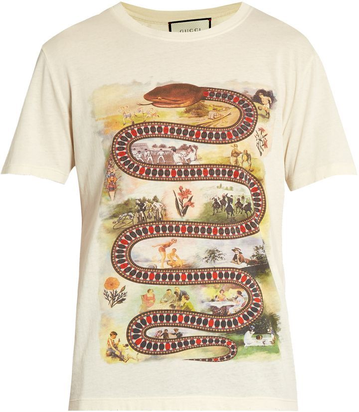 49b772fc7 GUCCI Snake-print cotton T-shirt | Cool T-shirts in 2019 | Mens ...