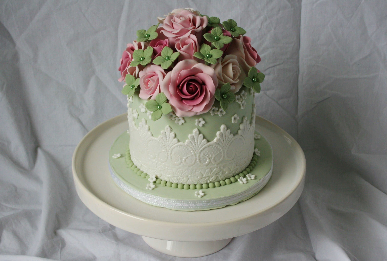 Swell Vintage Birthday Cake Vintage Birthday Cakes Vintage Cake Personalised Birthday Cards Veneteletsinfo