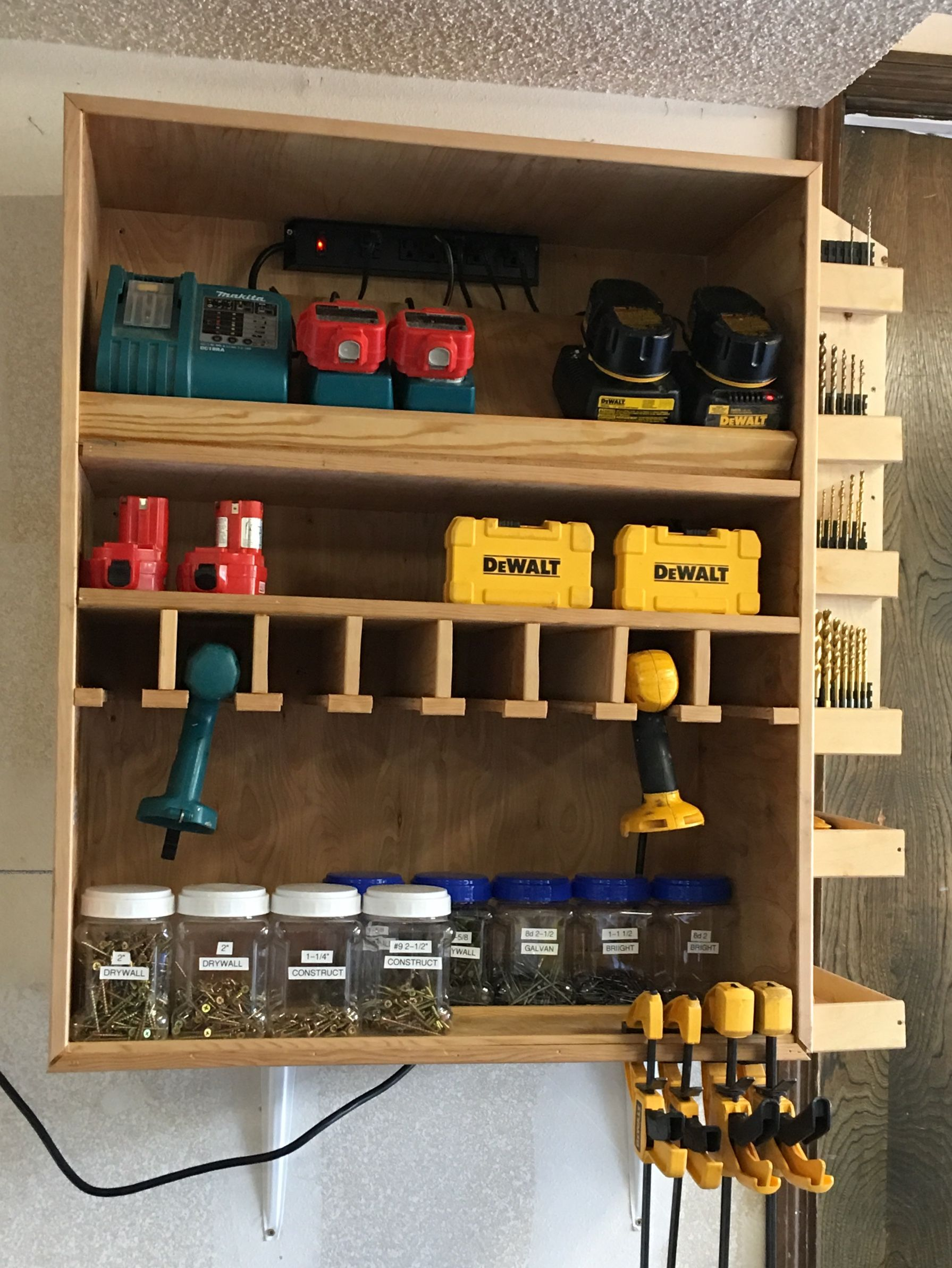 Drill And Driver Charge Station Garage Workshop Organization Garage Tool Organization Tool Shop Organization