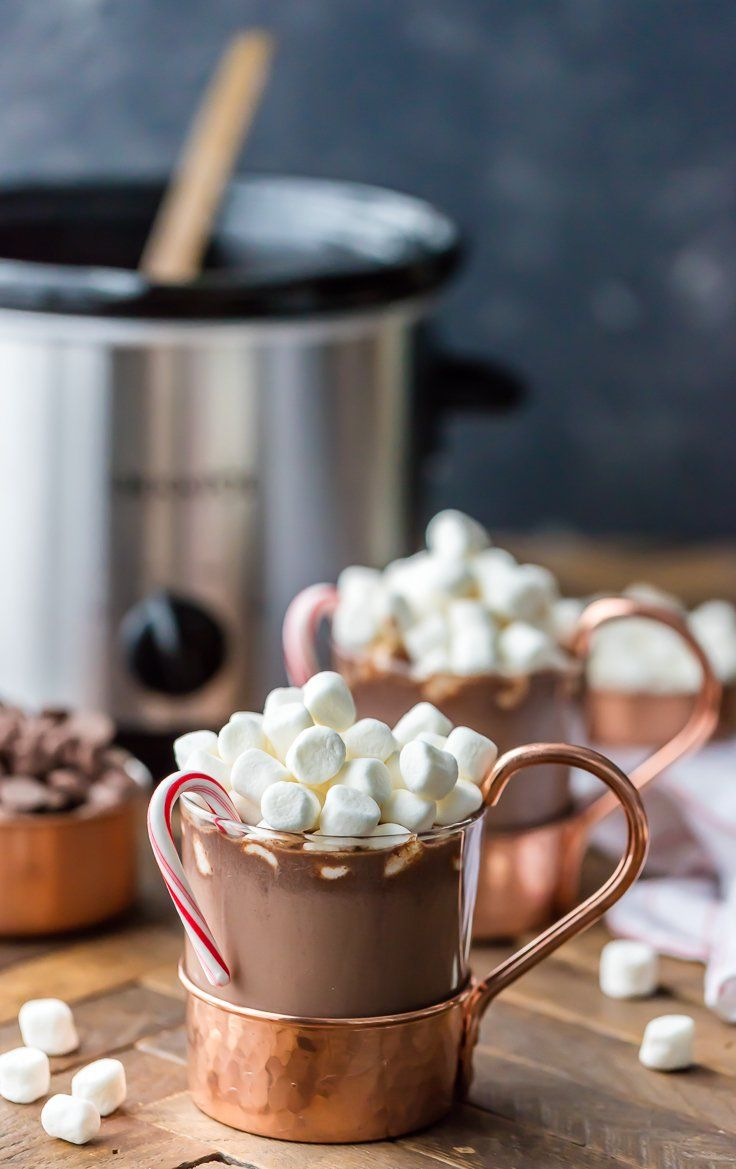 We Love Slow Cooker Peppermint Hot Chocolate Made With Sweetened Condensed Milk So Its S Crockpot Hot Chocolate Peppermint Hot Chocolate Hot Chocolate Recipes