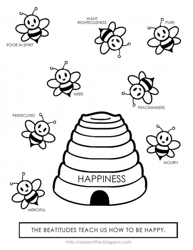 Bee Attitudes Coloring Pages Beatitudes Bible School Crafts