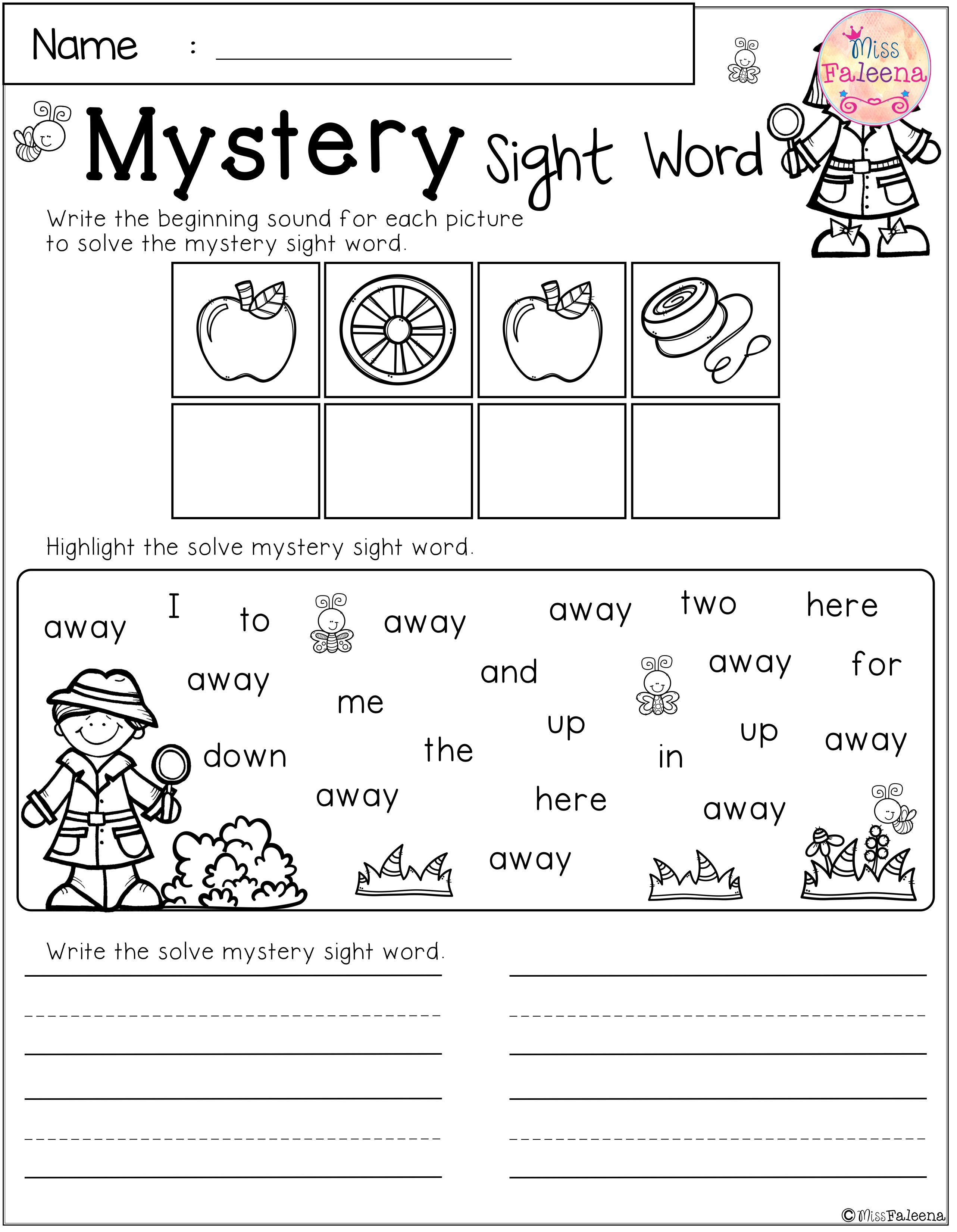 There Are 10 Pages Of Mystery Sight Word Practice
